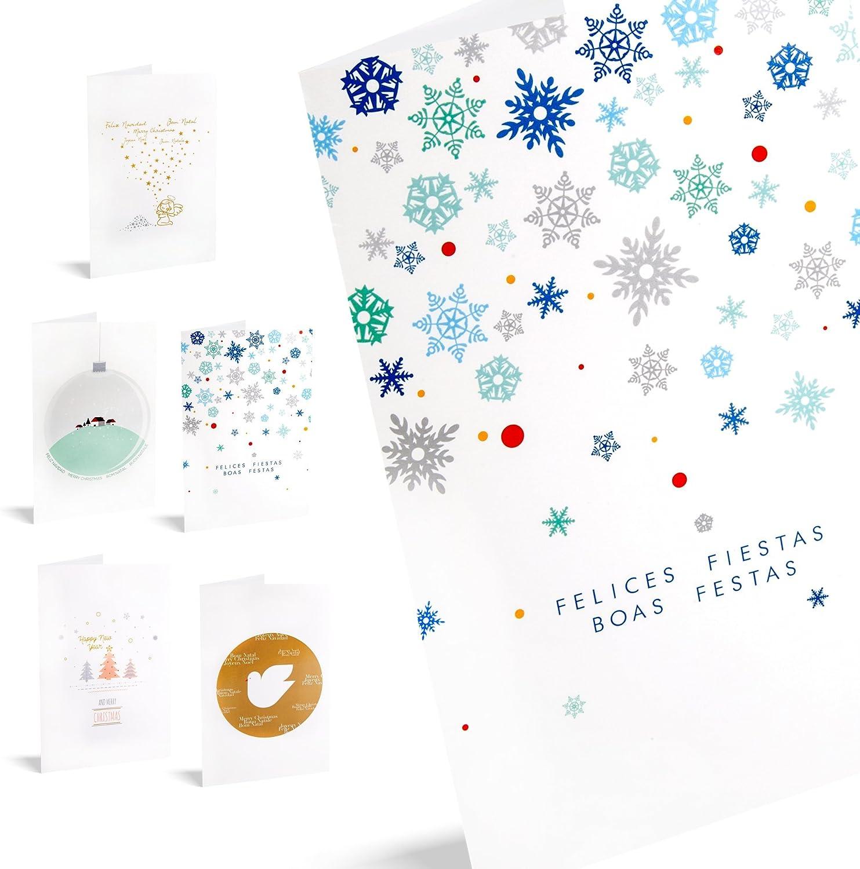 Felicitaciones De Navidad Pack De 10 Tarjetas Cotillón: Amazon.es: Oficina y papelería