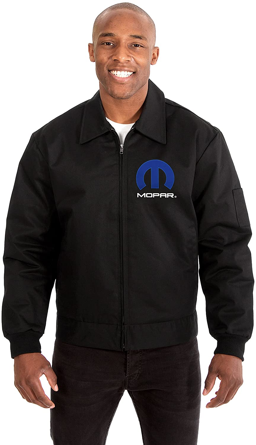 Mopar Mens Mechanics Jacket with Front /& Back Emblems Available in Black /& Gray