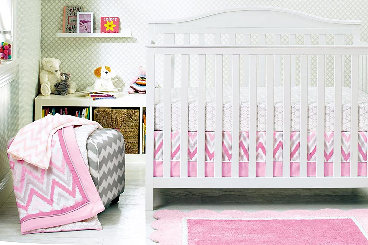 Baby Girl Pink Stripe 10pcs Crib Bedding Set with musical mobile F.C.L