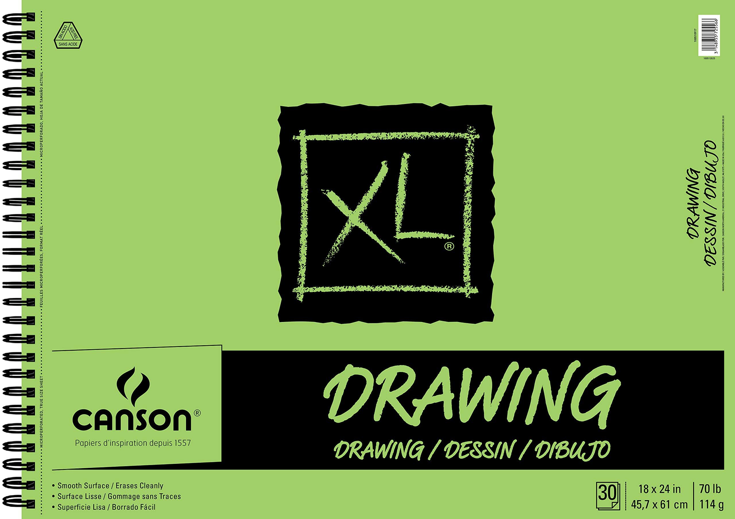 Canson XL Series Drawing Paper Pad, Micro Perforated, Smooth Surface, Side Wire Bound, 70 Pound, 18 x 24 Inch, 30 Sheets by Canson