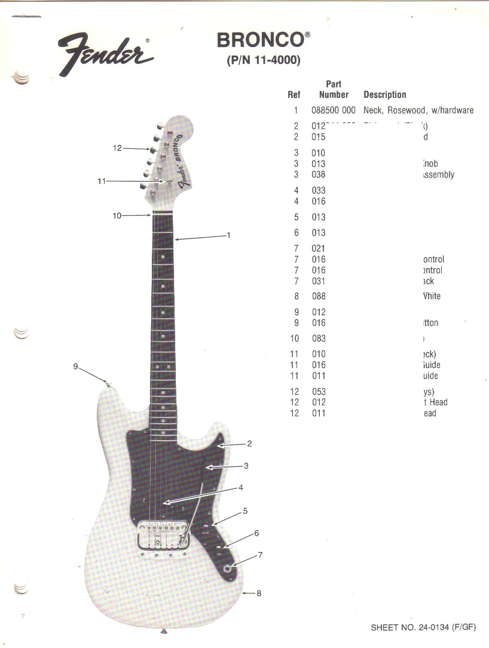 FENDER Bronco Electric Guitar, Parts List: Fender ... on