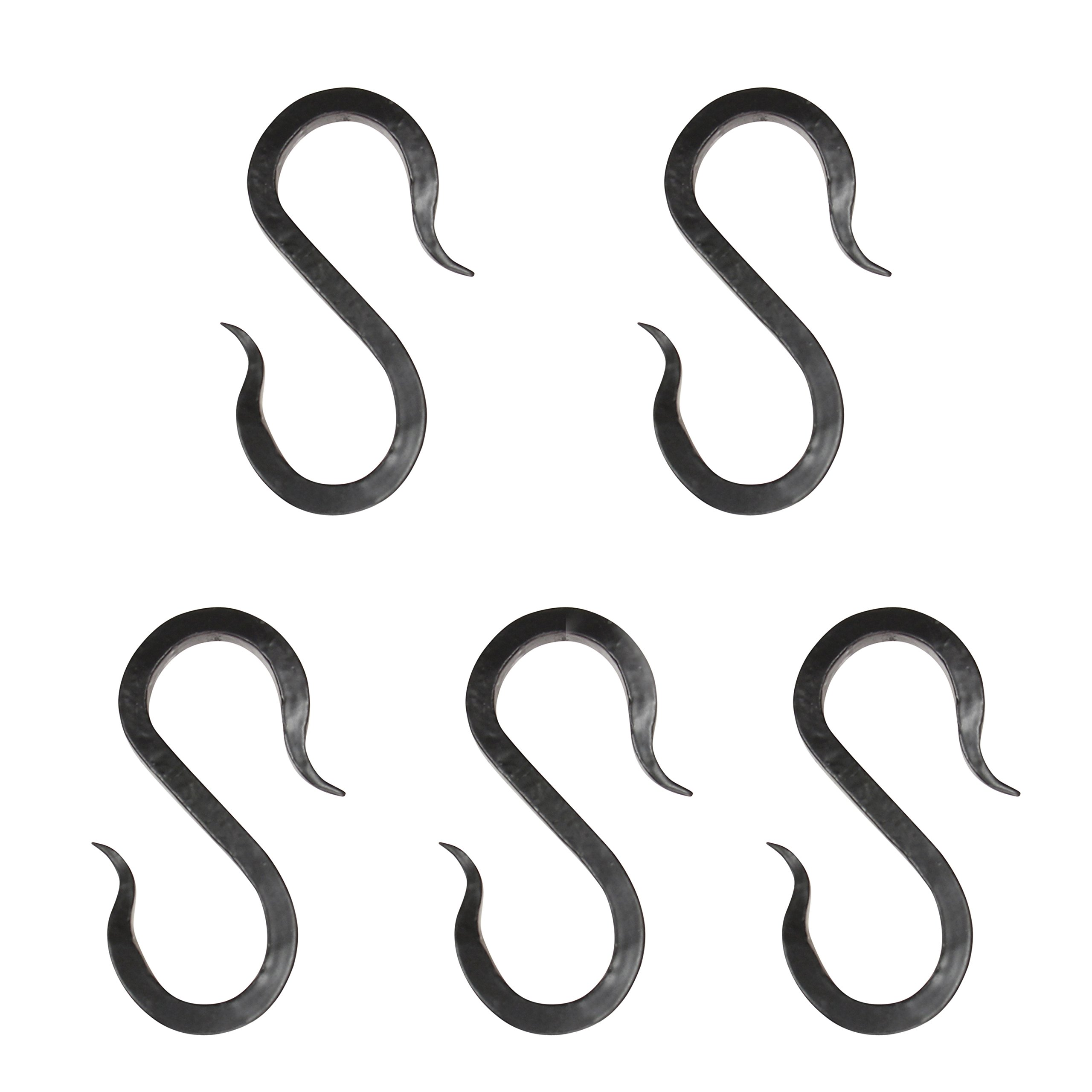RCH Hardware SH-I-02L-BLK-5 Solid Iron S-Hooks for Connecting Chains to Fixtures   5 Pack (Black)