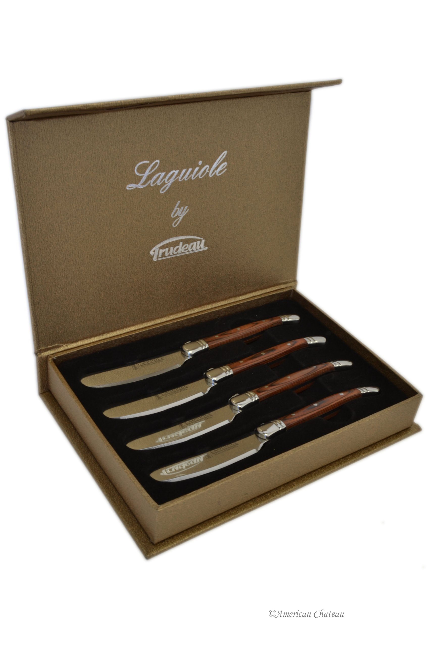 Set 4 Laguiole Stainless Steel & Pakka Wood Butter/Cheese Spreaders - Gift Boxed