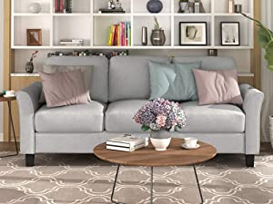 COZEON 3 Seat Sofa for Living Room, Linen Fabric Sofa, Upholstered Soft and Comfortable Modern Couch