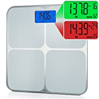 Smart Weigh Digital Memory Scale, High Accuracy, Dual Color Weight Change Detection and Smart Step-On Auto Recognition for 8 Users, Silver