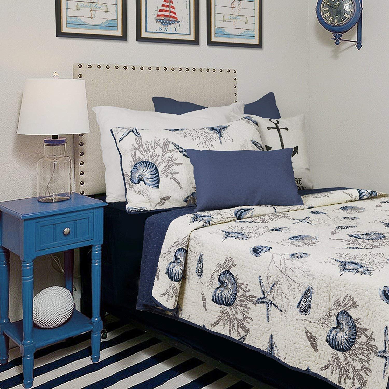 Brandream Ocean Comforter Sets Twin Size 100% Cotton Lightweight Quilt Set Coverlet Sets Navy Coastal Bedding Twin XL 2-Piece