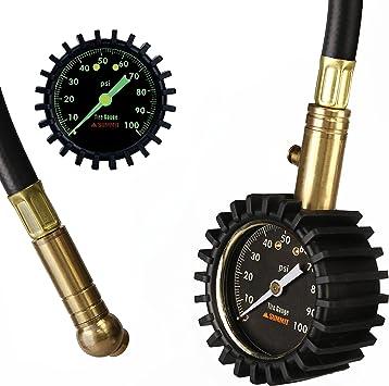 Summit Tools Reifendruckprüfer Mit Halteventil 0 100 Psi Ansi B40 1 Zertifizierte Genauigkeit Mit Großer 5 1 Cm Leuchtanzeige Für Auto Lkw Fahrrad Motorrad Wohnmobil Und Mehr Auto