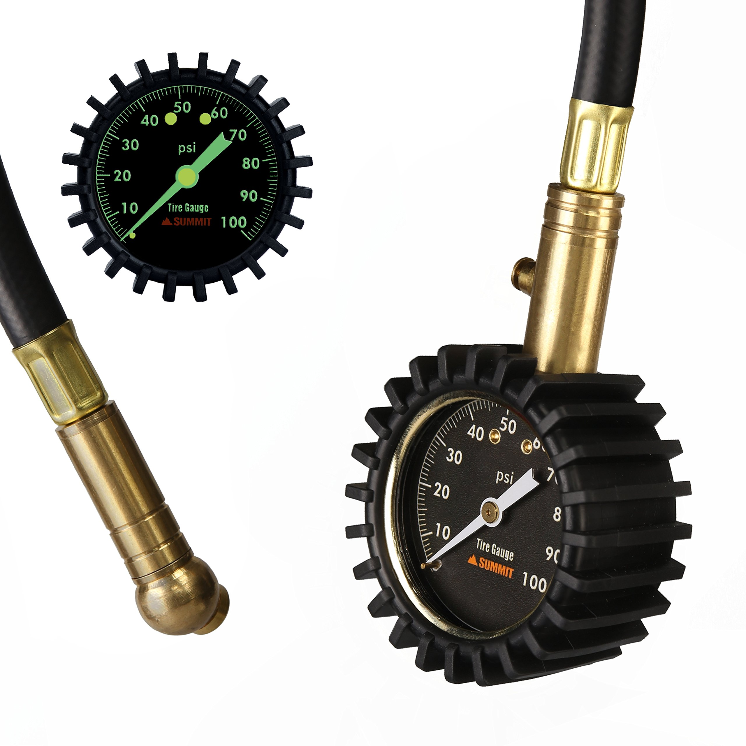 Summit Tools Heavy Duty Tire Pressure Gauge with Hold Valve (0-100 PSI) - ANSI B40.1 Certified Accuracy with Large 2'' Glow Dial for Car, Truck, Bike, Motorcycle, RV and More by Summit Tools