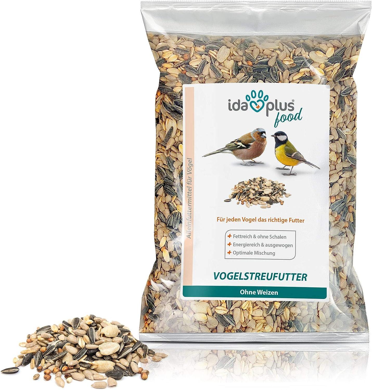 Ida Plus – Comida para pájaros sin trigo para aves silvestres y aves silvestres – Comida para pájaros para todo el año – Mezcla óptima – Alimento sin trigo, grasa y energía