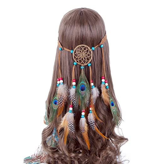 Hippie Dress | Long, Boho, Vintage, 70s Hippie Headband Feather Dreamcatcher Headdress - AWAYTR New Fashion Boho Headwear Native American Headpiece Hippie Clothes Peacock Feather Hair Accessories $13.99 AT vintagedancer.com