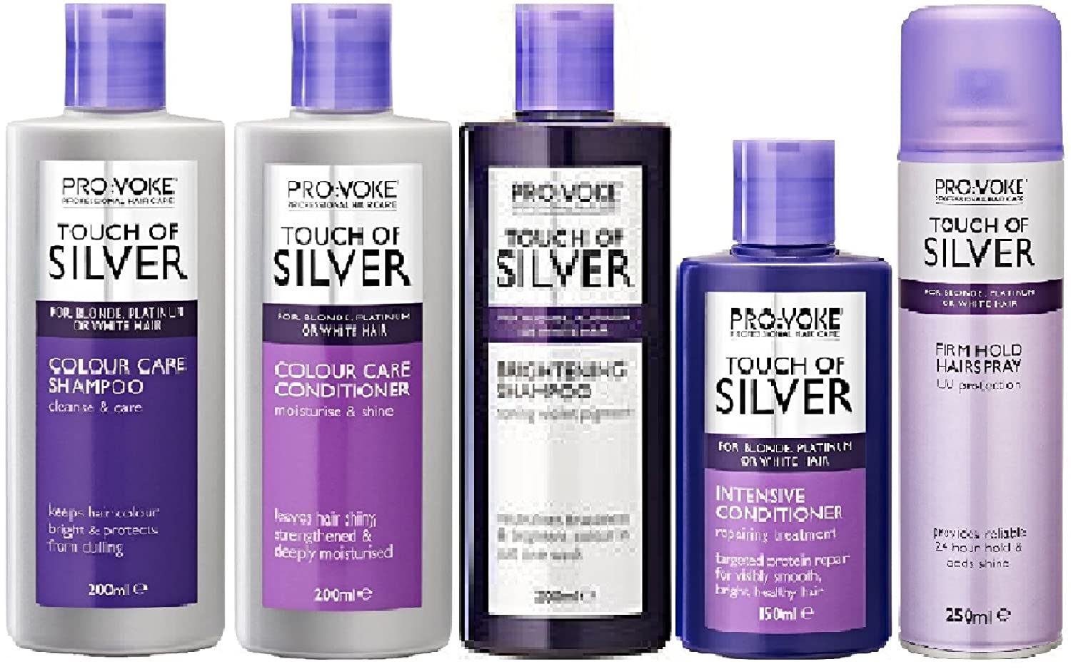 (5 PACK) Provoke Touch of Silver Colour Care Shampoo x 200ml   Provoke Touch  of Silver Colour Care Conditioner x 200ml   Provoke Touch of Silver  Brightening ... 7b0e811232b8