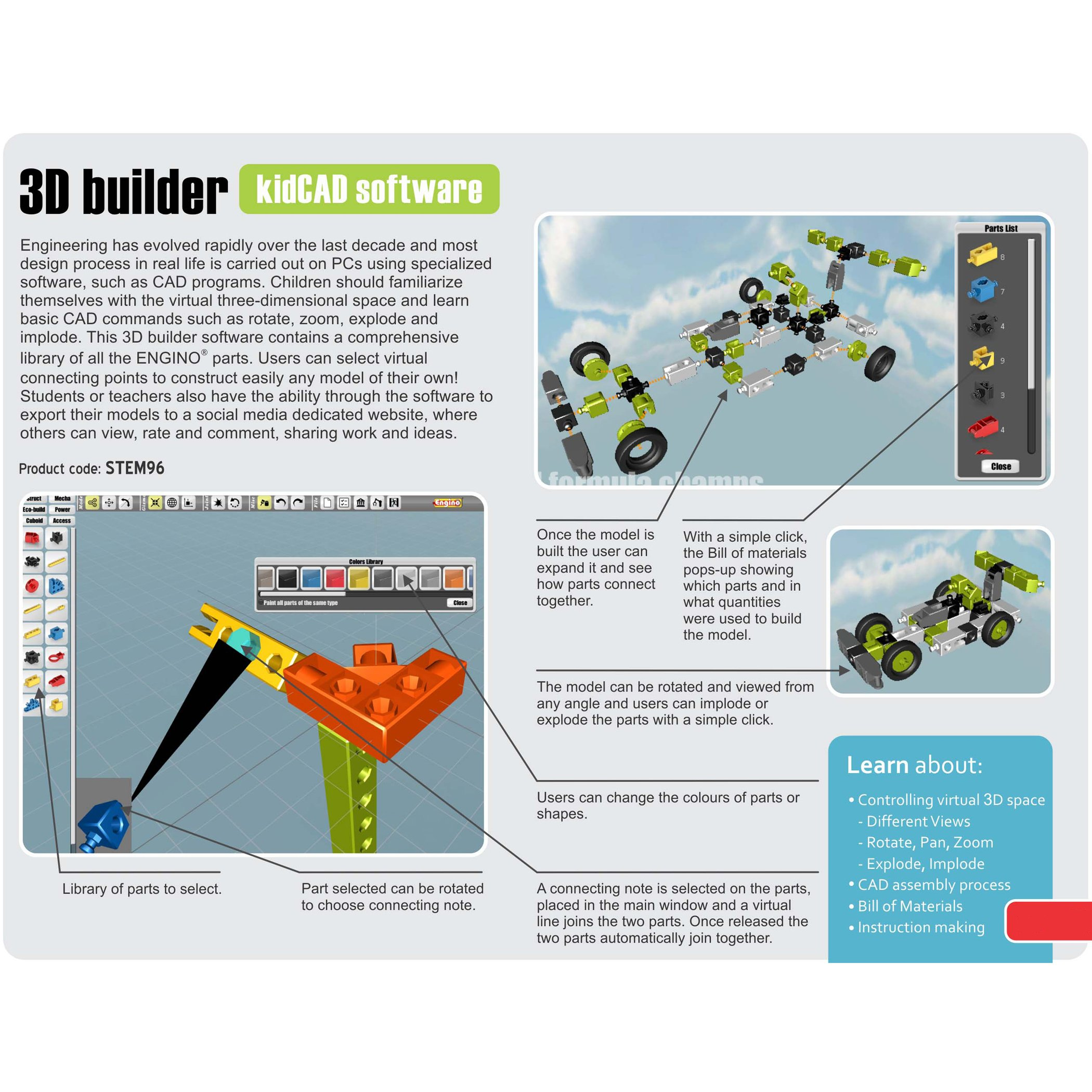 Engino Discovering STEM Simple Machines Mechanisms That Multiply Force Construction Kit by Engino (Image #13)