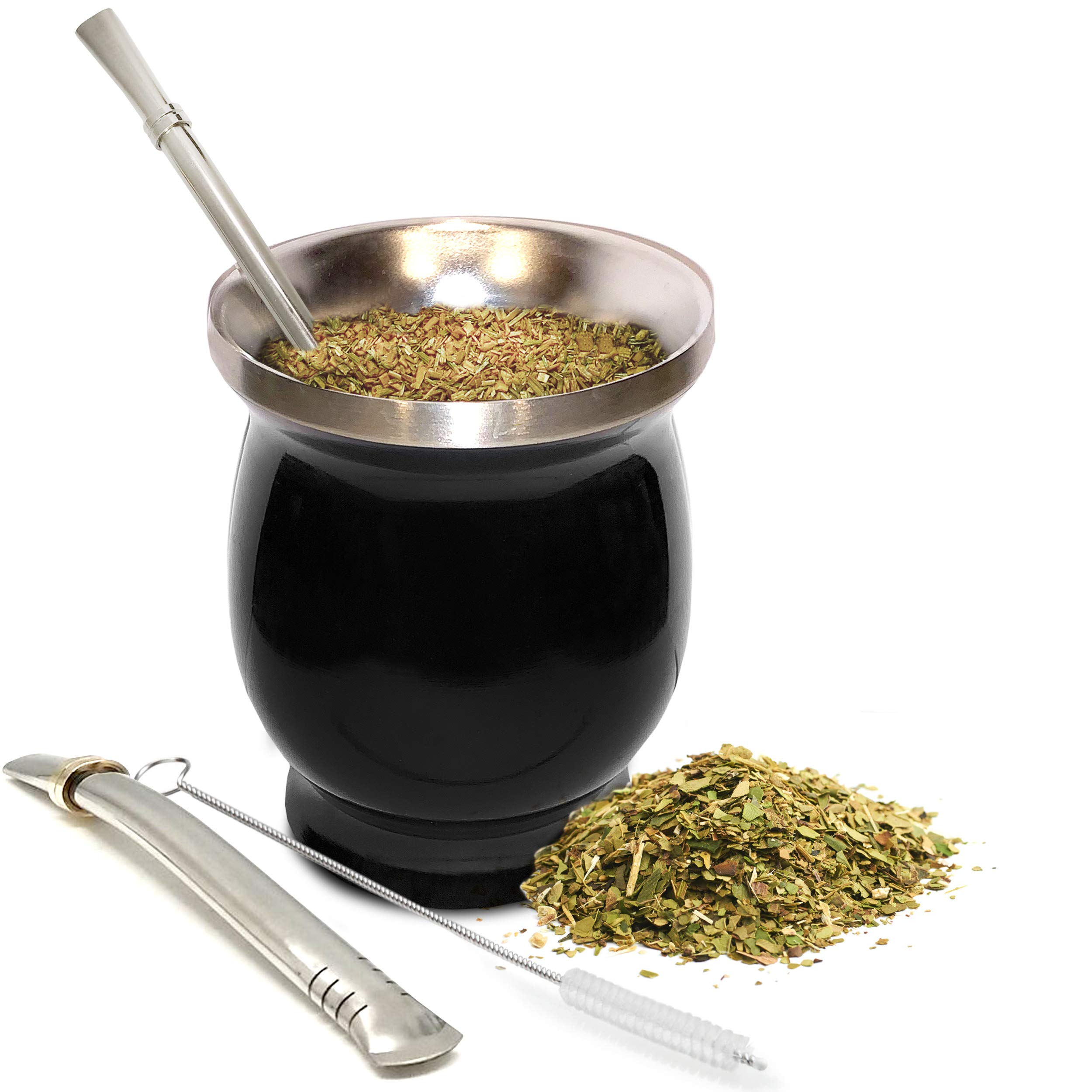 UPGRADED Yerba Mate Natural Gourd/Tea Cup Set (Original Traditional Mate Cup - 8 Ounces) | Includes 2 Bombillas (Yerba Mate Straws) & Cleaning Brush | Stainless Steel | Double-Walled | Easy to Clean