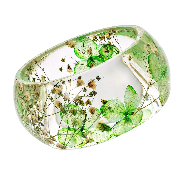IDesign DIY Handmade Nature Dry Pressed Flower Resin Bracelet Bangle (Green)