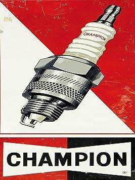 SHAWPRINT Champion bujías Placa metálica para la Pared Retro Arte: Amazon.es: Hogar