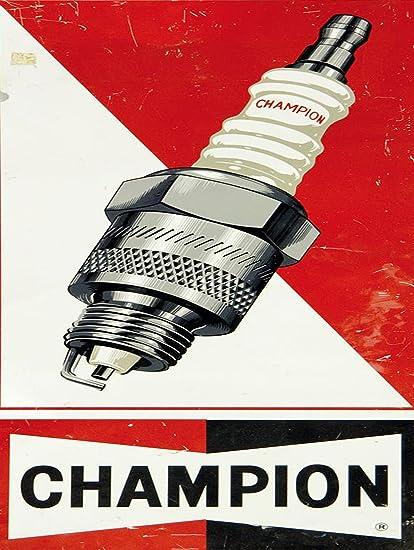 SHAWPRINT Champion bujías Placa metálica para la Pared Retro Arte