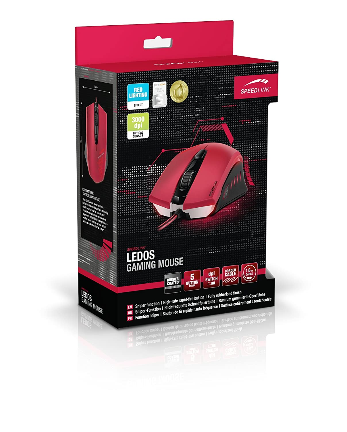 a03871c36a3 SPEEDLINK Ledos Optical 5-button Gaming Mouse, 3000 DPI - Red:  Amazon.co.uk: Computers & Accessories