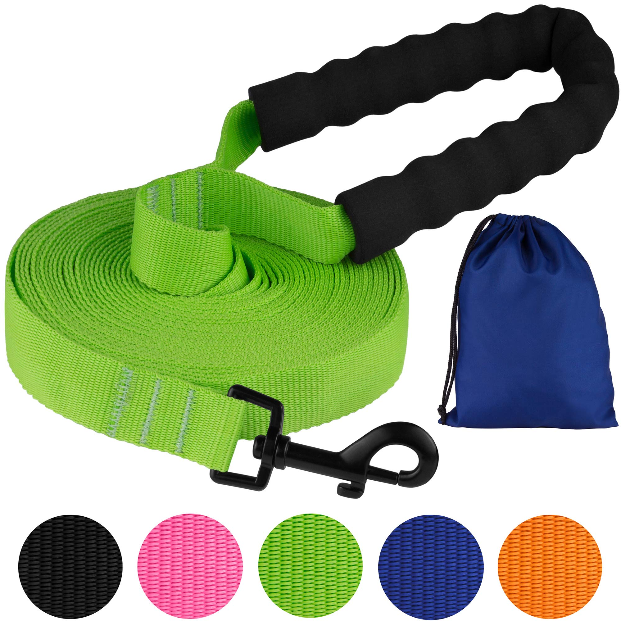 Pawia Long Dog Leash with Padded Handle Check Cord 1 Inch Nylon Training Lead Heavy Duty Leashes for Medium Large Dogs Black Orange Pink Blue Lime Green (30FT, Lime Green)