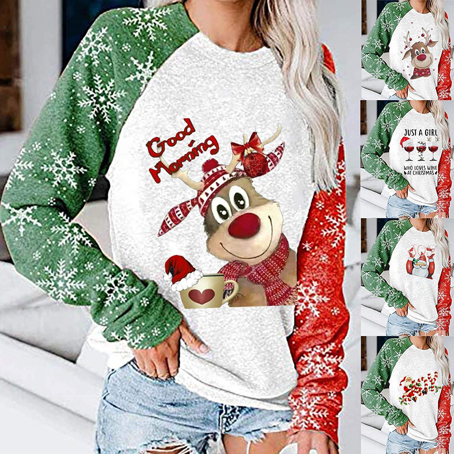 Fudule Womens Crewneck Sweatshirt Casual Long Sleeve Pullover Tops Chrismtas Graphic Shirts Lightweight Fall Blouses Top