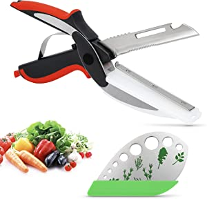 6 in 1 Food Cutter Kitchen Vegetable Chopper with 9 Holes Herb Stripper - Stainless Steel Clever Food Scissors Vegetable Slicer Smart Cutter - Knife & Cutting Board, Bottle Opener, Peeler, Fish Scaler