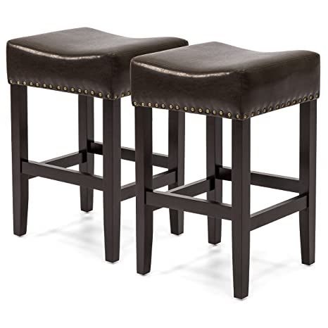Fantastic Best Choice Products Set Of 2 Backless Faux Leather Upholstered 26In Counter Stools W Brass Nailhead Trim Brown Cjindustries Chair Design For Home Cjindustriesco