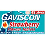 Gaviscon Heartburn and Indigestion Relief Tablets, Strawberry Flavour, 48 Tablets