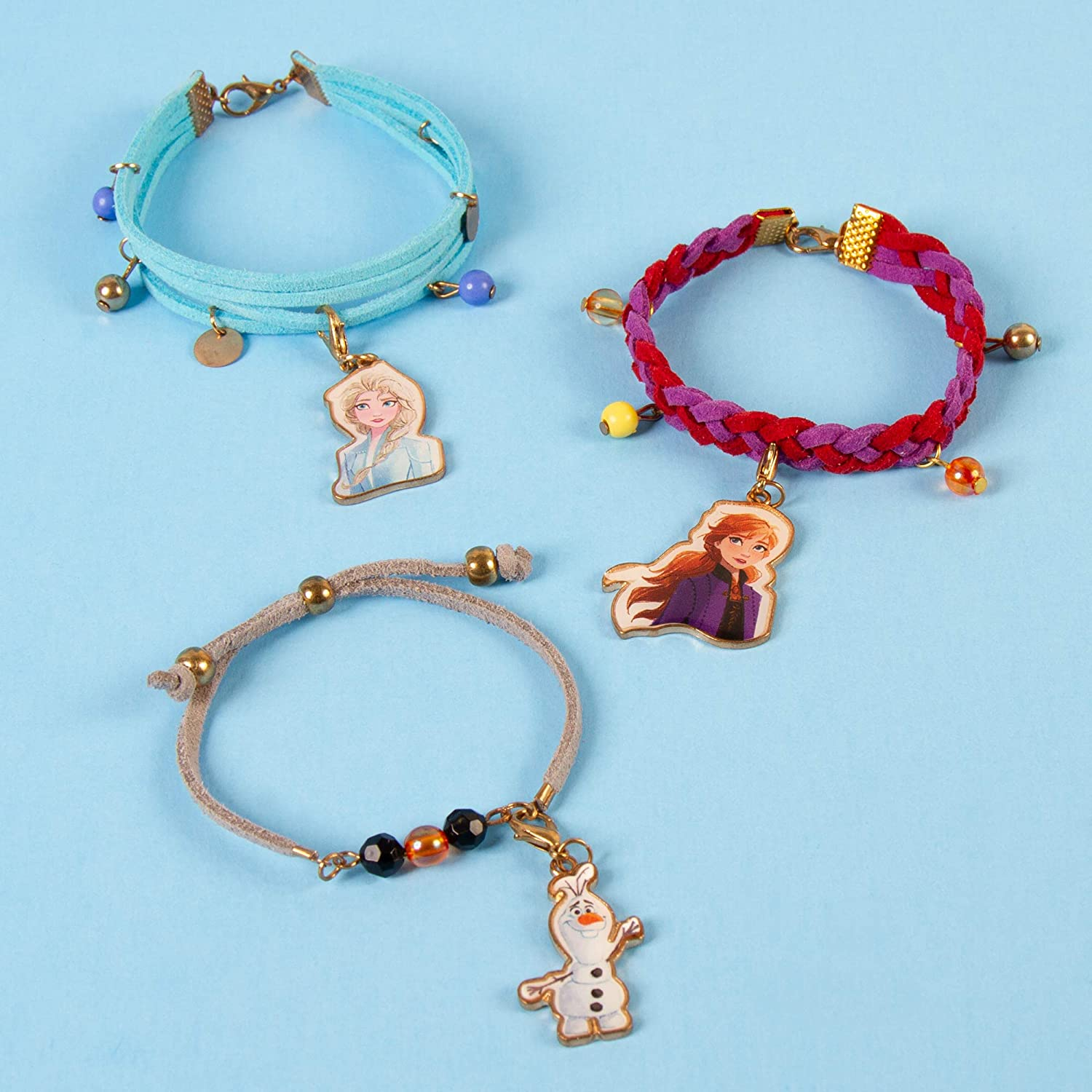 Design and Create Girls Bracelets with Frozen 2 Charms Faux Suede and More Make It Real Disney Inspired DIY Charm Bracelet Making Kit for Girls Disney Frozen 2 Elements Jewelry Set Beads
