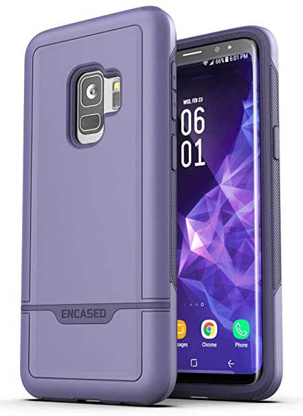 brand new 298c7 2b2b9 Encased Galaxy S9 Tough Case Purple, Ultra Durable Full Body Protective  Cover (Heavy Duty Military Grade) Samsung S9 Phone (Rebel Series)