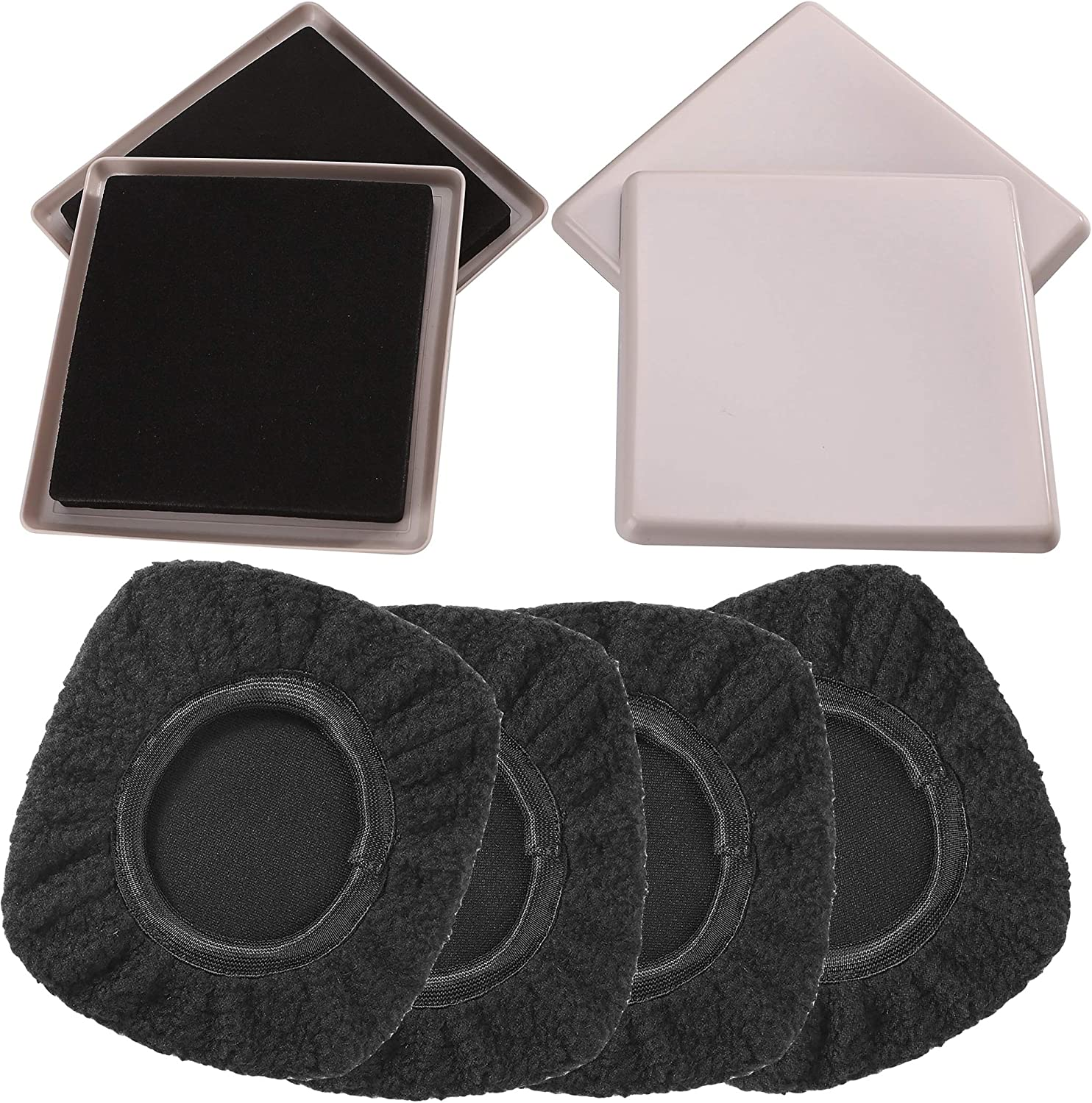 """Multi-Surface 2-in-1 Reusable Furniture Carpet Sliders with Hardwood Socks- Protect & Slide on Any Surface 5"""" Black (4 Pack)"""
