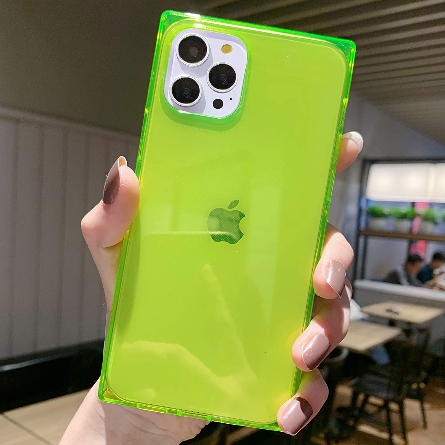 Tzomsze Compatible with iPhone 12 Pro Max Case for Women, Square Clear Cases Reinforced Corners Cushion Slim Shock Absorption TPU Silicone Cover 6.7 Inch 2020 -Fluorescent Green