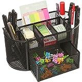 MOCREO Desk Tidy Mesh Desk Organiser Set Office Tidy Organiser Desk Caddy Tray Multi-functional Black Metal Pencil Pot Pencil Holder (Black)