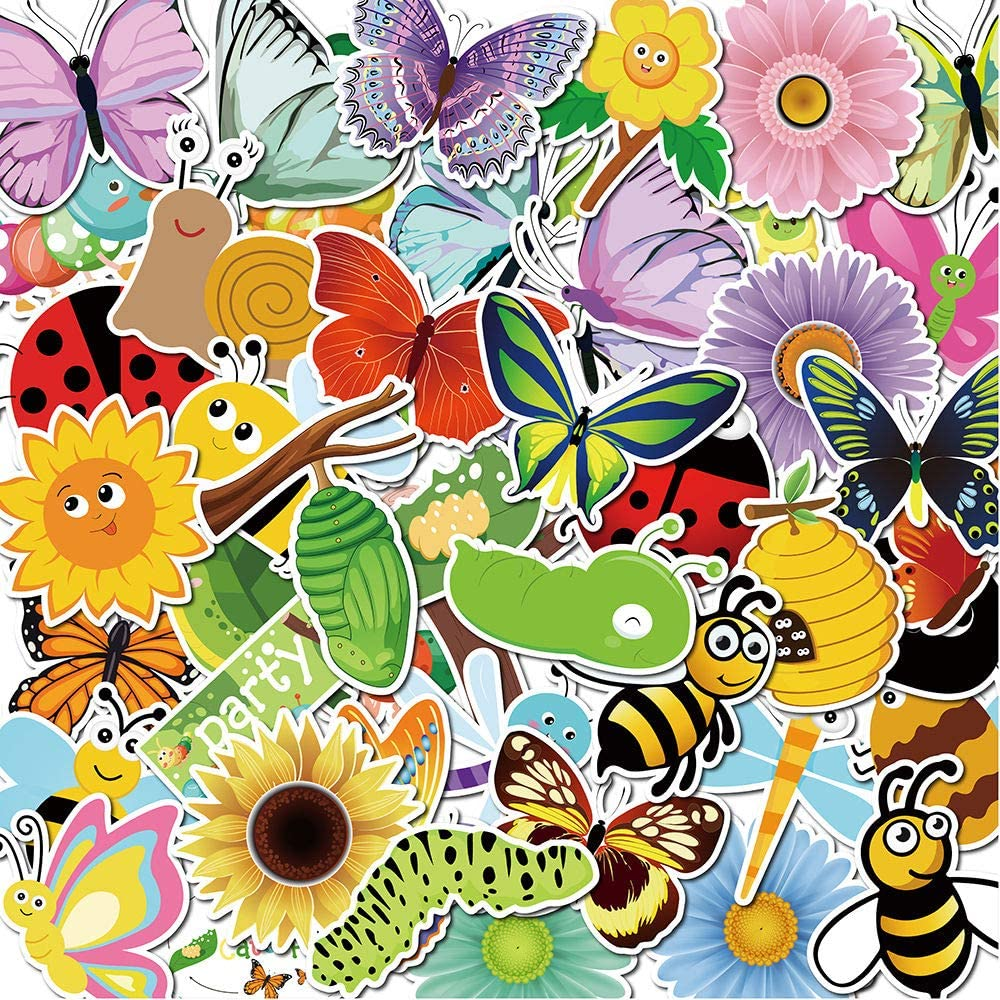 Cute Butterfly Stickers Set Lovely Vsco Sticker for Kids Boys Girls Teens Teacher - Big 50 Pack Vinyl Waterproof Trendy Aesthetic Pink Decals for Hydroflask,Water Bottle,Laptop and More (Gardens)