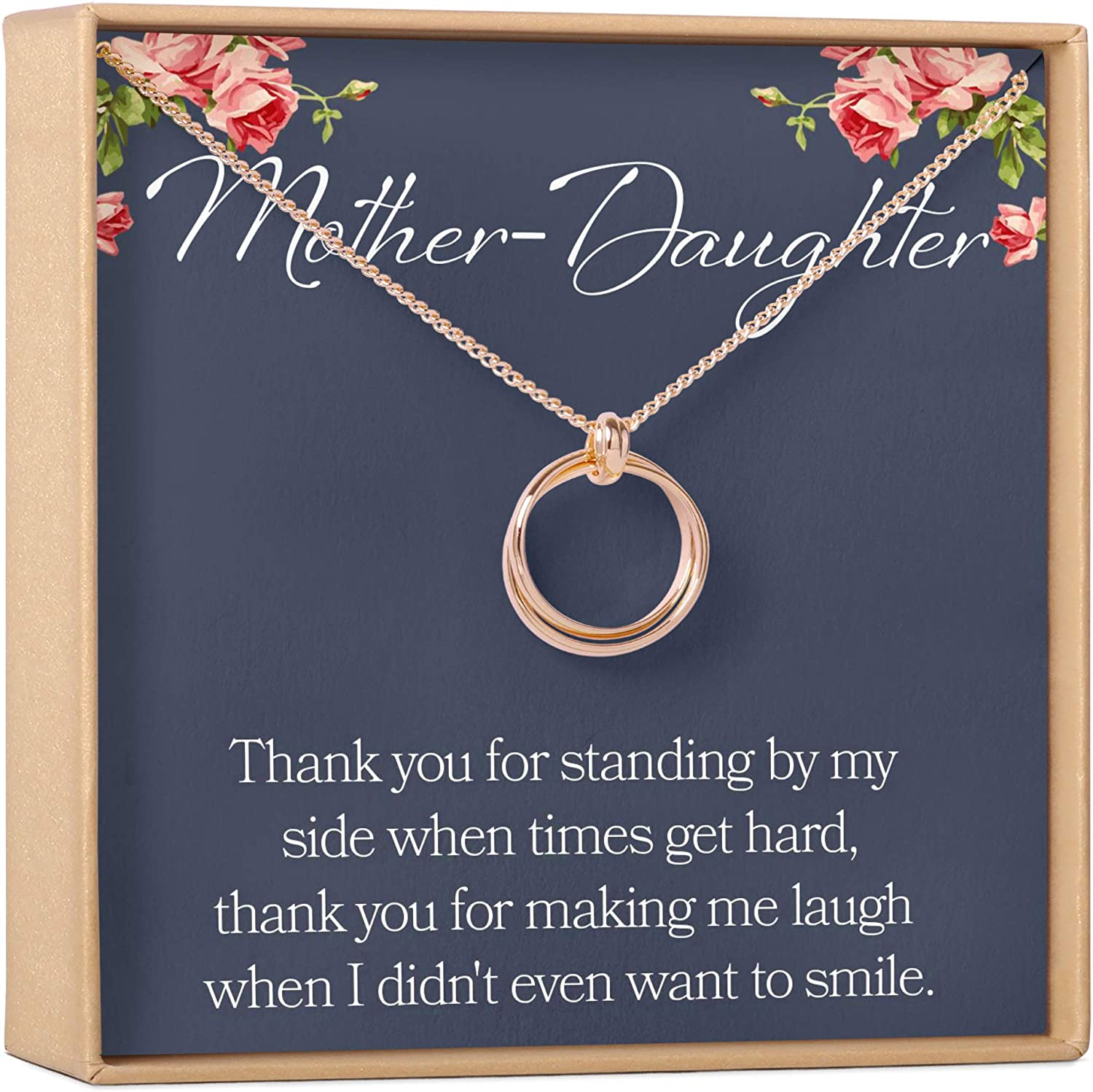 Mother\u2019s Day present Mother\u2019s Day gift-Heart necklace-Rose gold chain necklace-Red bead and heart necklace