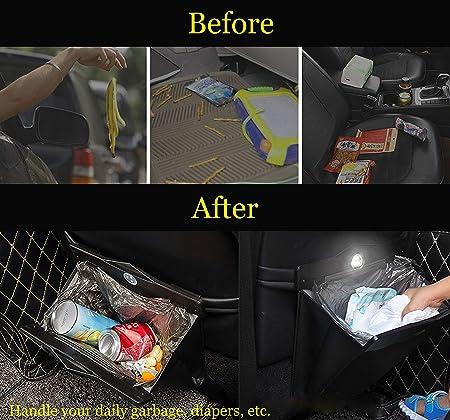 Car Trash Bin with 50pcs Trash Bags Luxury PU Leather Garbage Can Elegant Folding Garbage Bin Waterproof Car Rubbish Bag Car Interior Garbage Can for Universal Vehicle Car Truck