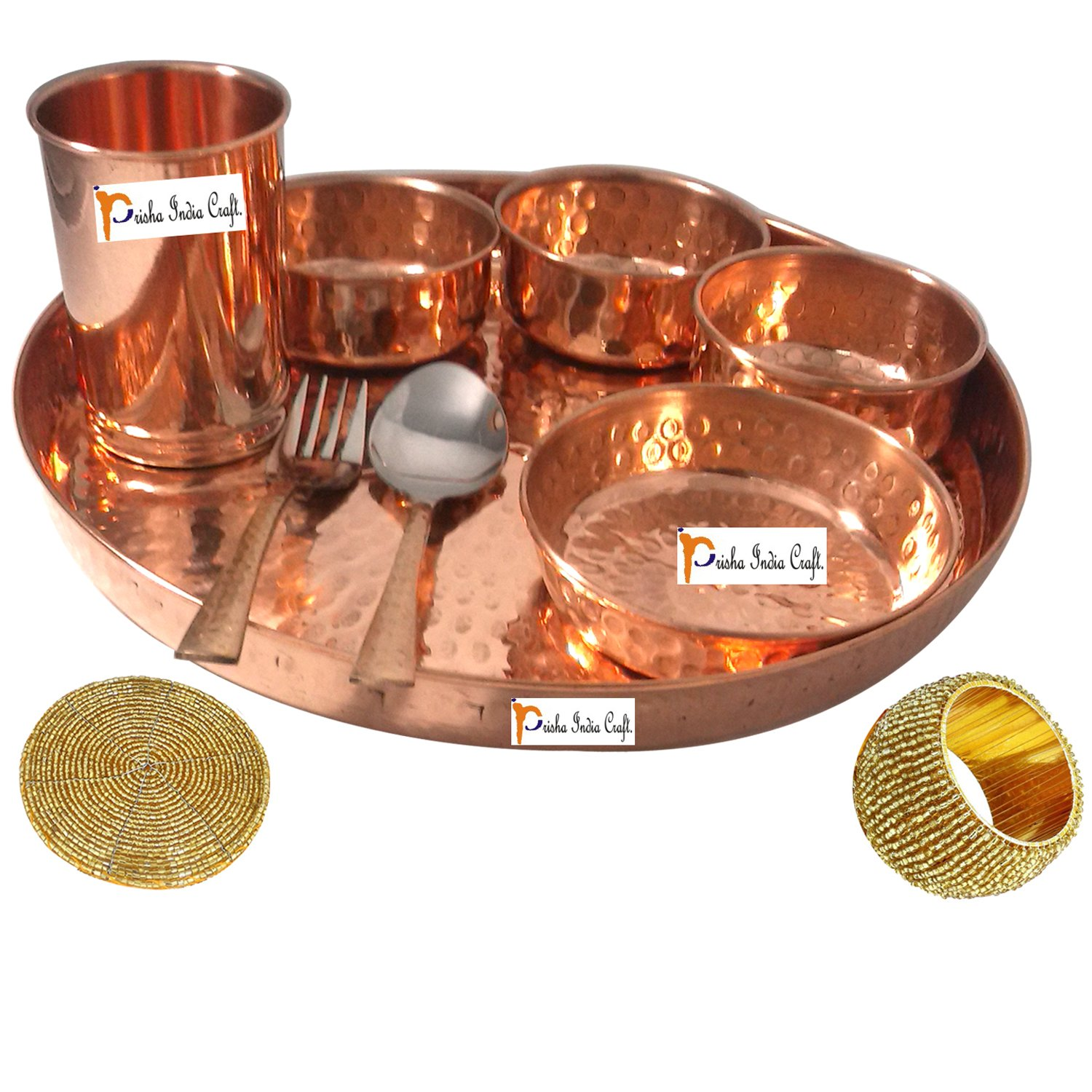 Set of 6 Prisha India Craft Handmade Indian Dinnerware Pure Copper Thali Set Dia 12'' Traditional Dinner Set of Plate, Bowl, Spoons, Glass with Napkin ring and Coaster - Christmas Gift by Prisha India Craft (Image #3)