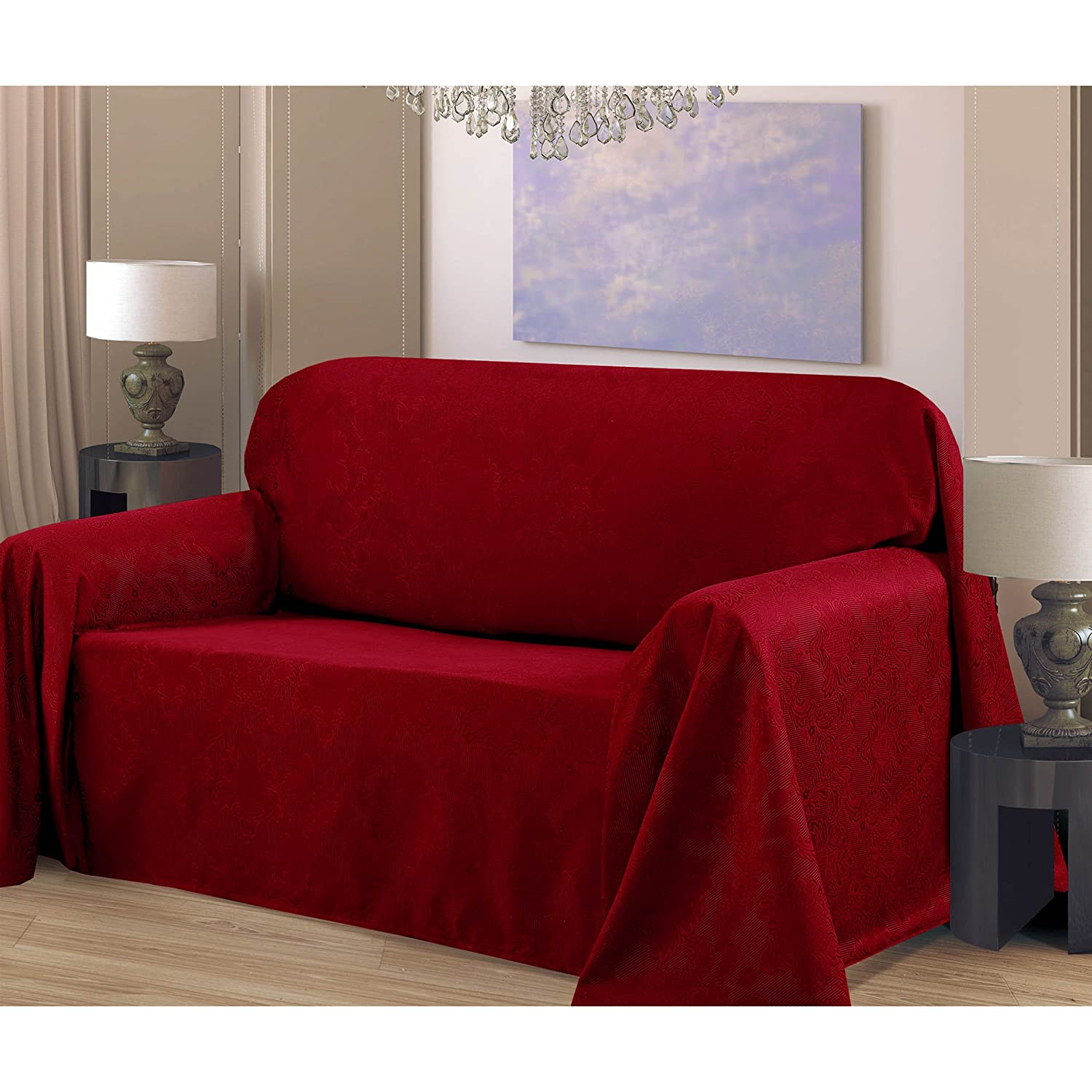 Amazon CHI Medallion Solid Jacquard Loveseat Slip Cover 70