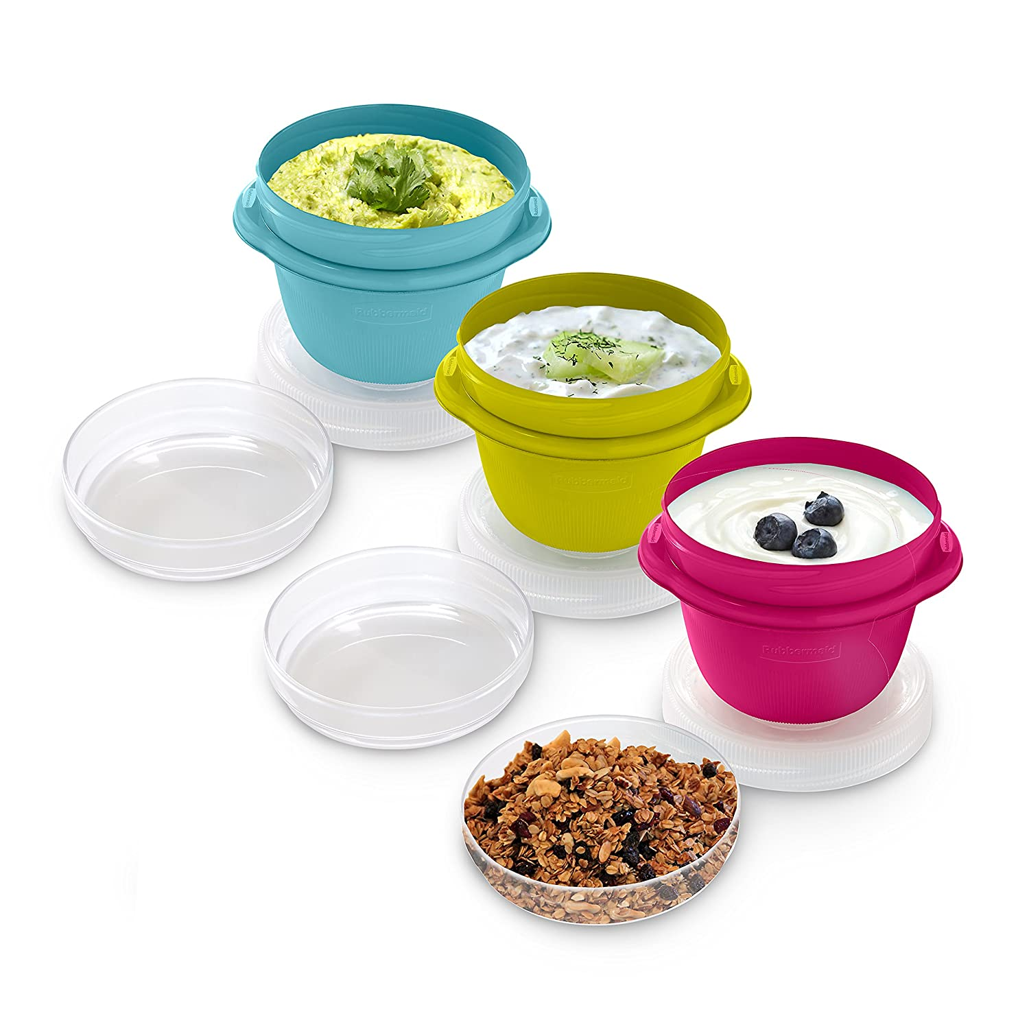Rubbermaid 1.2 Cup Take Along On-the-Go Snack Food Storage Container (3 Pack), Assorted Colors 1967198