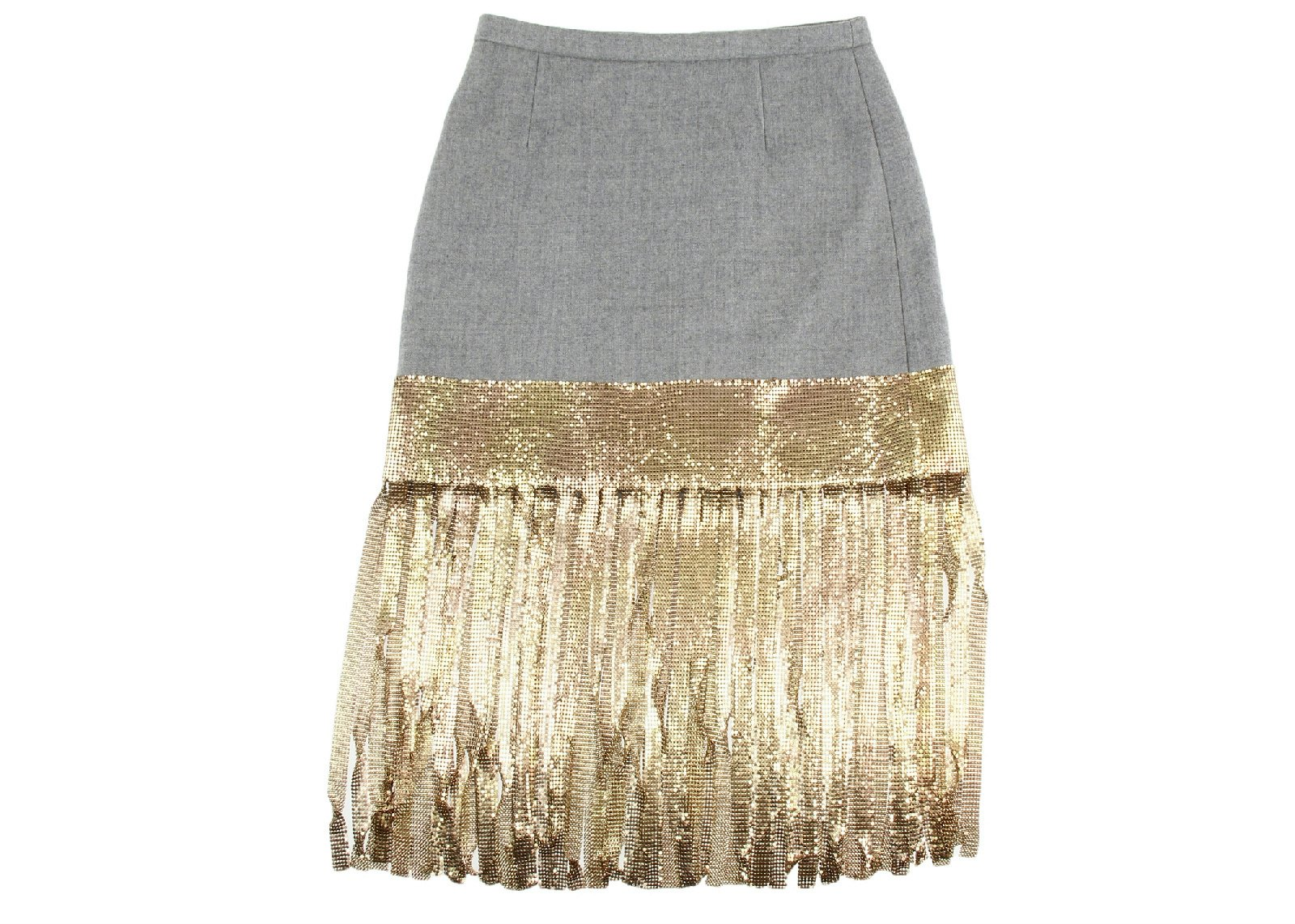 J Crew Collection Wool Skirt With Metallic Fringe Size 2 Style C2951 by J.Crew
