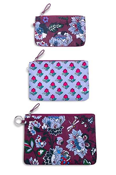 Vera Bradley Womens Set of 3 Pencil Pouch Travel Bags Trio, Bordeaux Blossoms