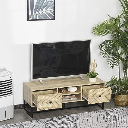 homcom Mobile Porta TV 2 con 2 Cassetti e 2 Ripiani Portaoggetti in Legno per Soggiorno Camera o Ufficio 120x39x44.5cm