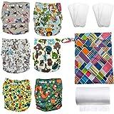 Reusable Cloth Diapers Set - 6 Diaper Covers + 6 Bamboo Inserts + Diaper Liners + Diaper Bag - Animal Patterns