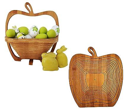 Buy Jeval Wooden Folding Fruit Basketapple Shaped Wooden 2 In 1