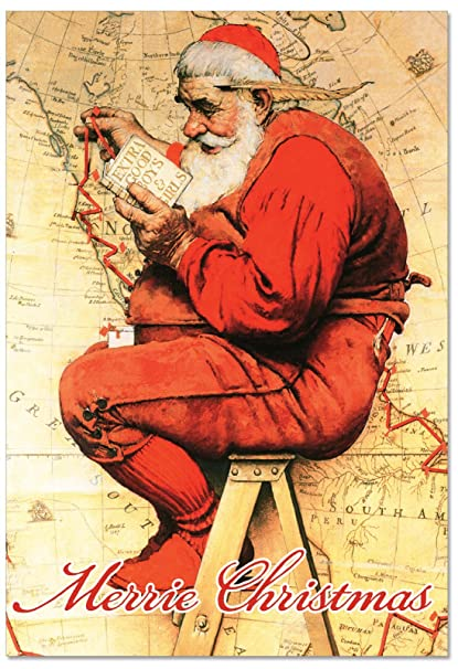 Christmas Notecard.B6036ixsg Box Set Of 12 Rockwell Holidays Christmas Notecard Vintage Artwork By The Well Known American Artist Norman Rockwell With Envelopes