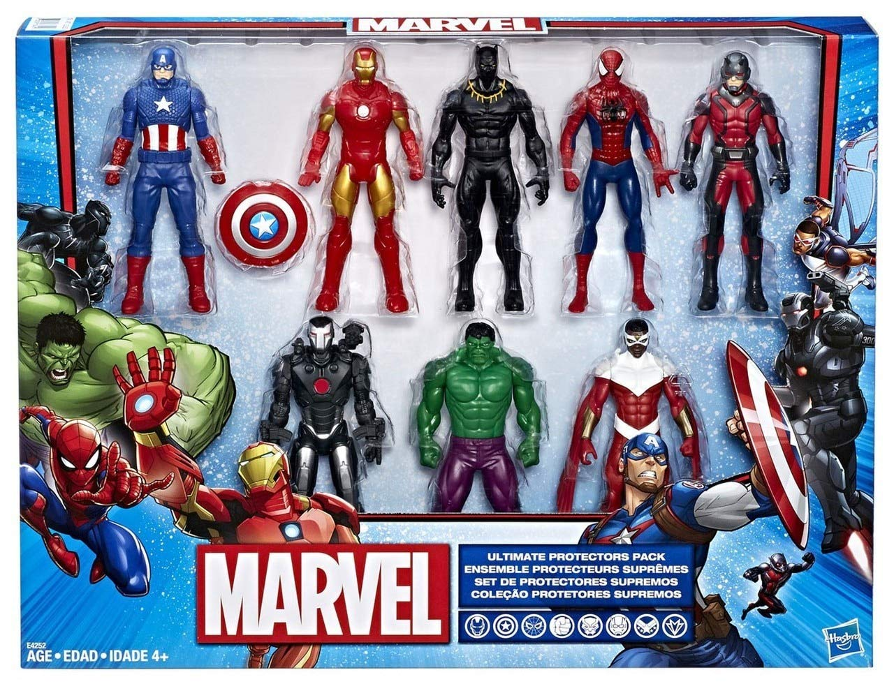 Marvel Avengers Action Figures - Iron Man, Hulk, Black Panther, Captain America, Spider Man, Ant Man, War Machine & Falcon! (8 Action Figures) by Marvel
