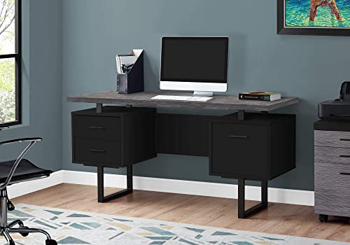 Monarch Specialties Computer Desk with Drawers – Contemporary Style – Home Office Computer Desk with Metal Legs – 60 L Black – Grey Top