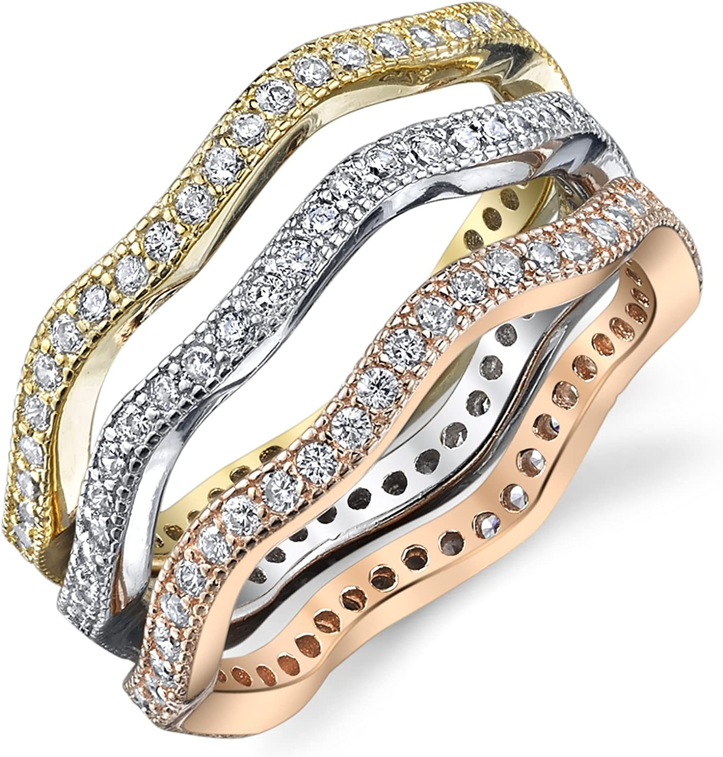 Buy For Less Clear Cubic Zirconia Inlay Tri Tone Stackable Band Ring Plated Sterling Silver