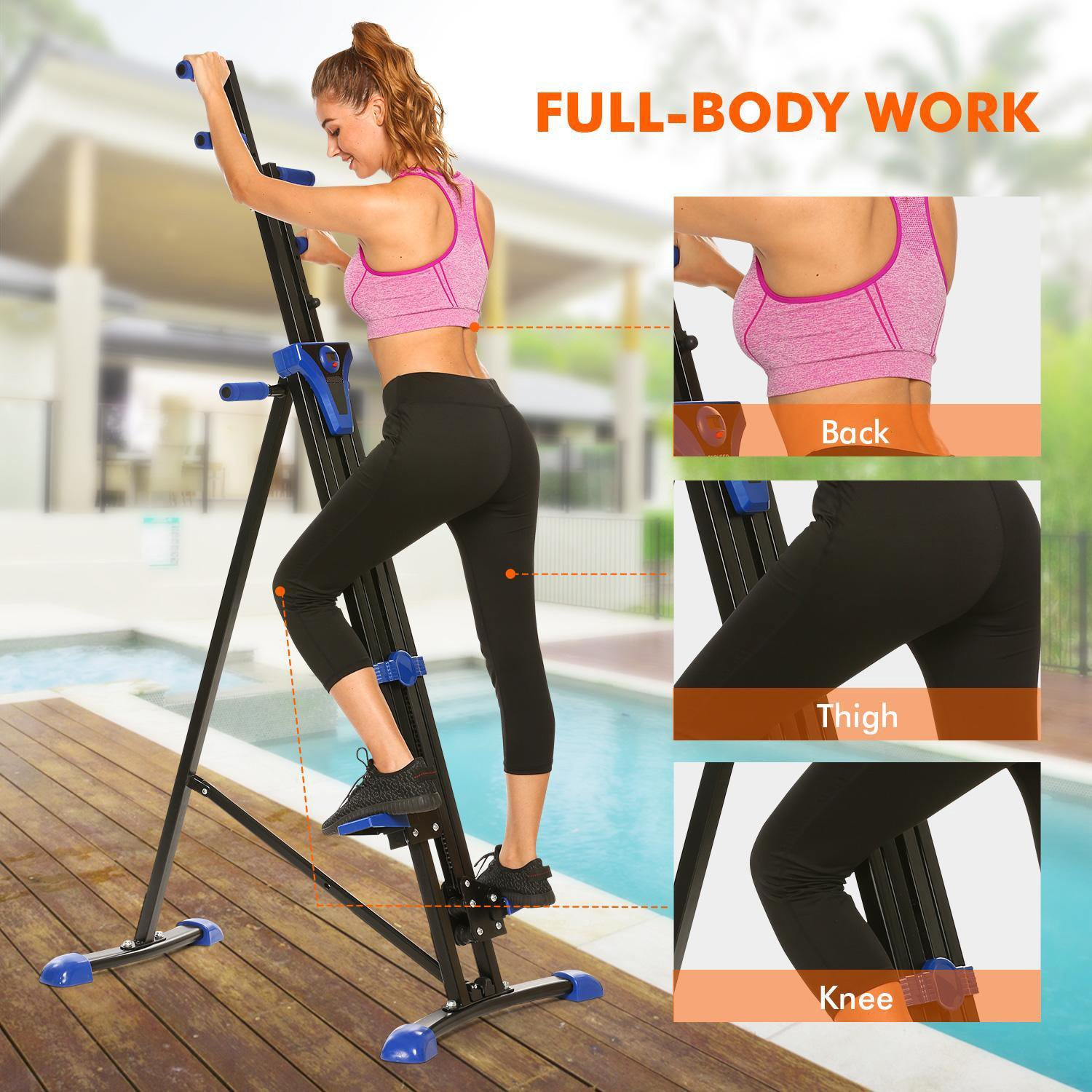 Vertical Mountain Climber Exercise Machine, 2 In 1 Foldable Vertical Stair Step Climber Stepper Exercise Fitness Climbing Machine by Evokem (Image #5)
