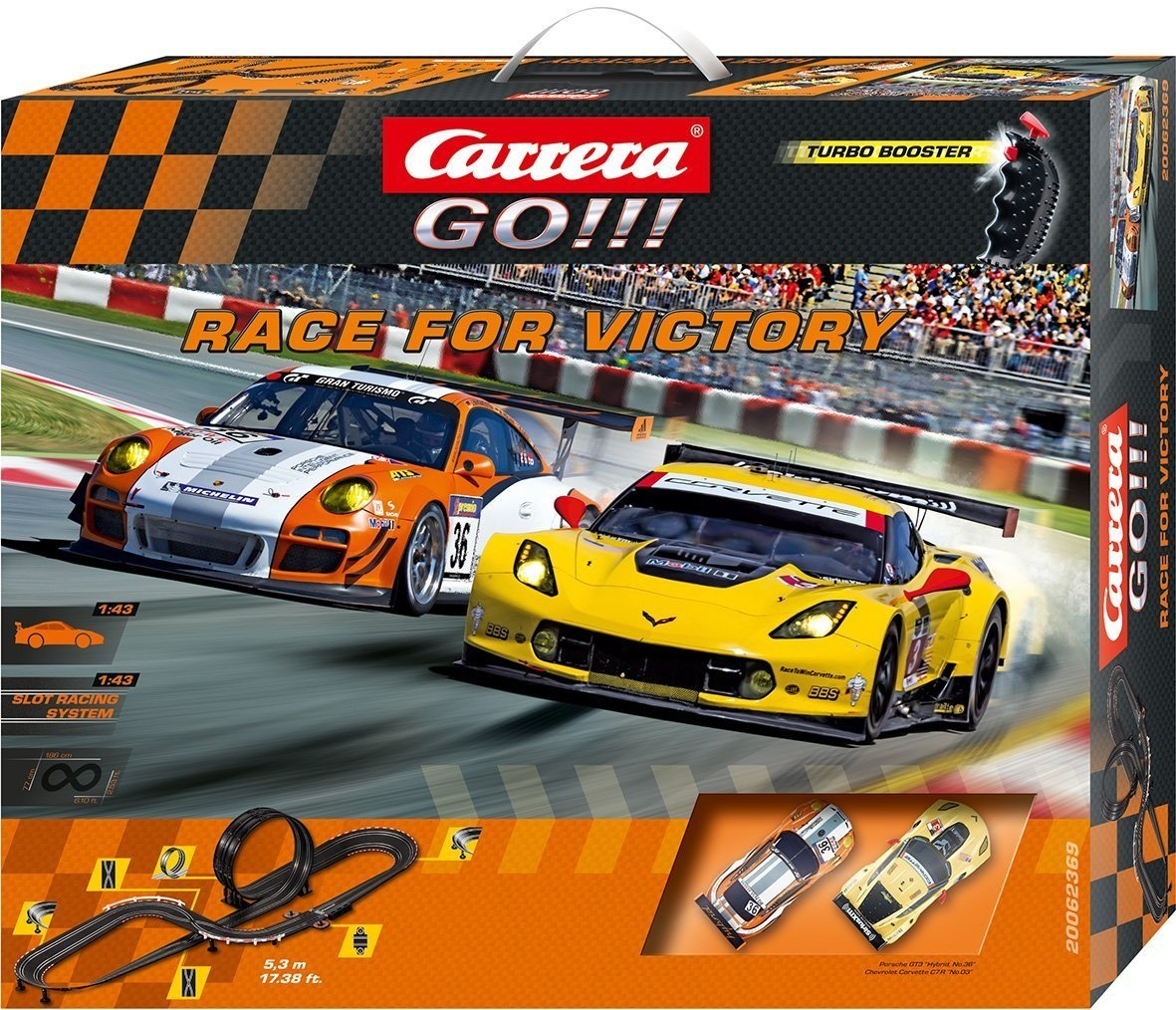 Carrera Go!!! - Circuito Race for Victory, con Porsche 911 GT3 Hybrid y Chevrolet Corvette C7.R No.3 (20062369): Amazon.es: Juguetes y juegos