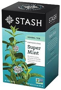 Stash Tea Super Mint Herbal Tea, 18 Count, 0.6 Oz, (Pack of 6)