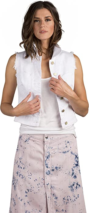 7aefd8a71f1a5f Standards   Practices Modern Women White Stretch Twill Sleeveless Crop Jean  Vest Size Small at Amazon Women s Coats Shop